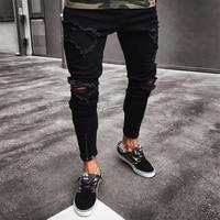 Men Jeans Stretch Destroyed Ripped Design Black Pencil Pants Slim Biker Trousers Hole Jeans Streetwear Swag