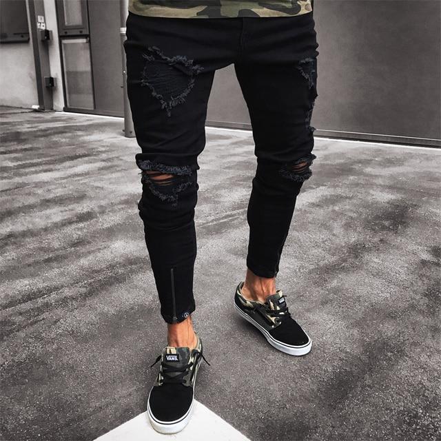 b8364fb12a5 Мужские джинсы стрейч разрушенные рваные дизайнерские черные узкие брюки  тонкие байкерские брюки рваные джинсы Уличная Swag