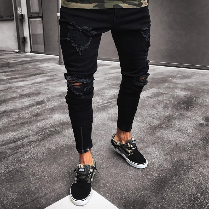 Men Jeans Stretch Destroyed Ripped Design Black Pencil Pants Slim Biker Trousers Hole Jeans Streetwear Swag Pants