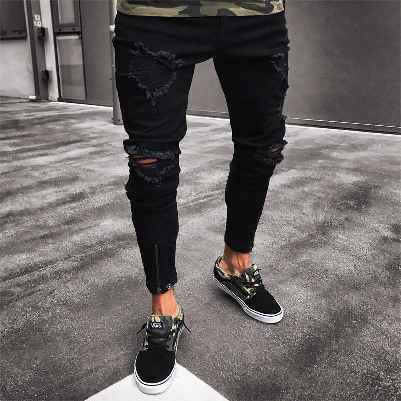 3989bfa00c28 Men Jeans Stretch Destroyed Ripped Design Black Pencil Pants Slim Biker  Trousers Hole Jeans Streetwear Swag