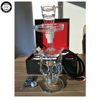 led skull glass hookah with leather lock bag clear glass shisha hookah table design led light and remote control smoking shisha