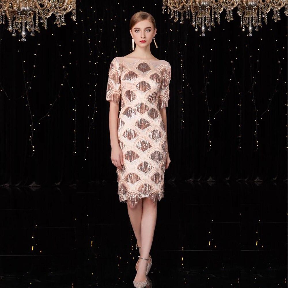 Élégant Sequin Haute Éclairage Gland Soirée Robes Vogue By823 Kleezy Scintillant Cou Slash Vintage Robe fin Dames Occasions 5w0nS1