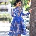 2015 Nueva Sexy Royal Blue Mini Corto de Manga Larga de Encaje Vestido de Cóctel Vestidos de Fiesta robe de cóctel de Tamaño Personalizado