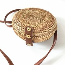 Rattan summer round beach shoulder  Messenger  leather buckle straw bag 18*7cm