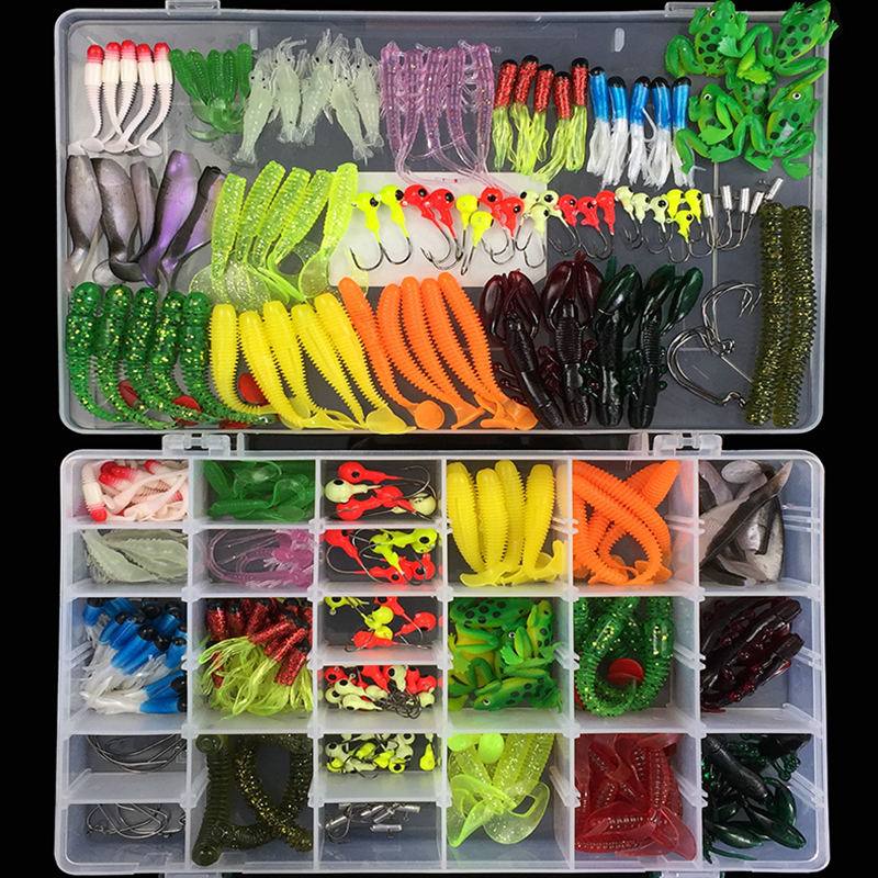 301 pcs Soft Lure Set Sea Fishing Tackle Fishing Lure Silicone Bait Soft Worm Shrimp Carp Fishing Accessories 50pcs new wifreo soft lure loader locker connector fishing worm hook bait accessories for bass fishing wholesale