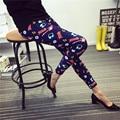 Spring Elastic Stretch Leggings for Female Fitness Slim Fit Leisure Soft Grid Color Graffiti New Fashion Leggings Pants Trouser