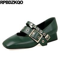 Low Square Toe Pumps Strap Black Thick Mary Jane Belts Discount Green Shoes For Women Size
