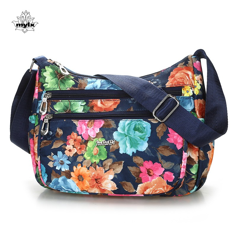 Bolso bandolera floral de estilo rural Bolso bandolera vintage de estilo europeo y americano Bolsa de mensajero de nylon impermeable para mujer Moda