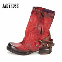 Jady Rose Red Women Ankle Boots Genuine Leather Double Zipper Flat Booties Autumn Winter Botas Militares Rubber Martin Boot