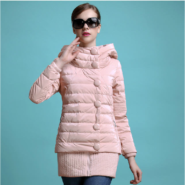 2014 Winter New WomenS Down Jacket Long Glossy Korean Hooded Slim Down Coat Female White Duck Down Coat Free Shipping H1017