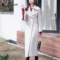 2018 зимние классические высокое качество бежевый пальто британский новый дизайн бренд тренчи для женщин Элегантный Винтаж женские с