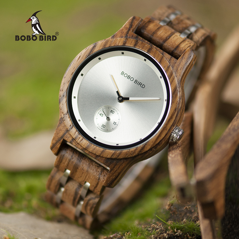 BOBO BIRD Men Watch Quartz Watches Male Wooden Wristwatch Small second disk Gift box masculinos relogios Customize logo luxury brand bobo bird men watches wooden quartz wristwatch genuine leather strap relogios masculinos b m14