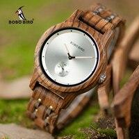 Bobo pássaro relógio masculino relógios de quartzo masculino relógio de pulso de madeira pequeno segundo disco caixa presente relogios personalizar logotipo
