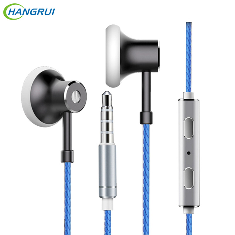 HANGRUI MS16 In ear Earphone Flat Head Earbuds Sports Running Music Stereo Bass HIFI Headsets With Mic For iPhone for xiaomi