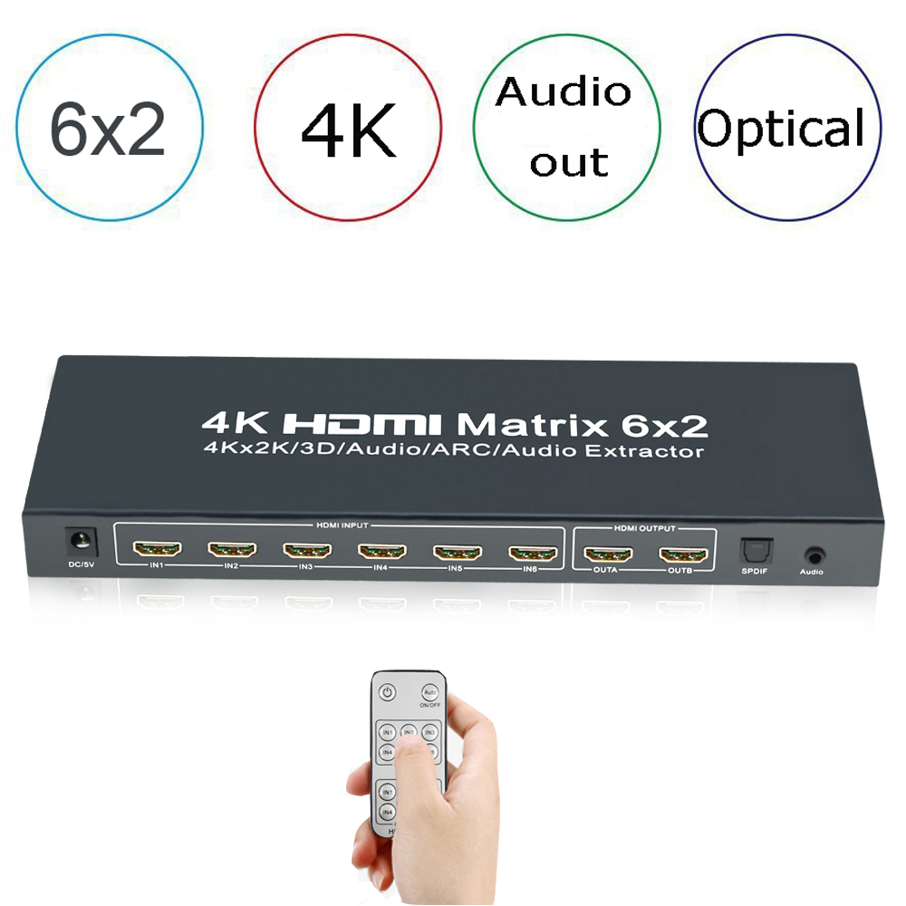 Aikexin 4K HDMI Matrix 6x2,HDMI Switcher Splitter 6 in 2 out with IR Remote Support HDMI 1.4  Audio Extractor, SDPIF/Toslink Out hdmi 2x1 multi viewer with pip the two hdmi switcher seamlessly not black screen with rs232 ir