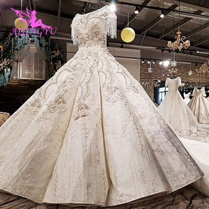 Image 2 - AIJINGYU 빈티지 Boho 웨딩 드레스 레이스 가운 정원 Frocks 2021 2020 독특한 복고풍 가운 공 웨딩 드레스 온라인 상점