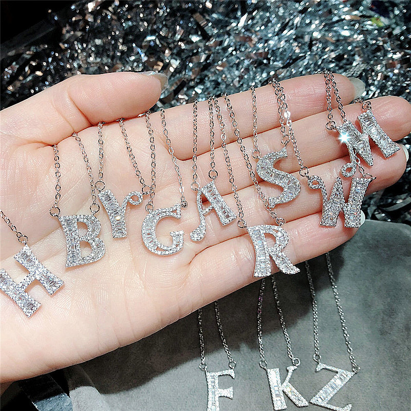 Fashion 26 Letters Pendants 5A Cz 925 Sterling silver Wedding Pendant with Necklaces for Women Wedding Party jewelry