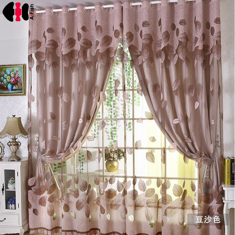 Colorful Leaves Printed grey curtains Sheer Tulle curtains