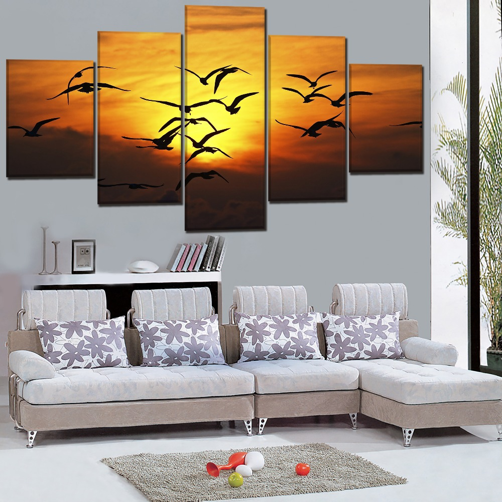 One Set 5 Pcs Sunset Landscape Picture Living Room Wall Art Home Decor Framework High Quality Canvas Print Animal Bird Painting in Painting Calligraphy from Home Garden