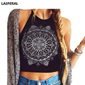 LASPERAL Print Cami Top Cotton Knitted Black CropTops Sexy Bralet Sleeveless Halter Top Harajuku Tank Tops For White Women Vest
