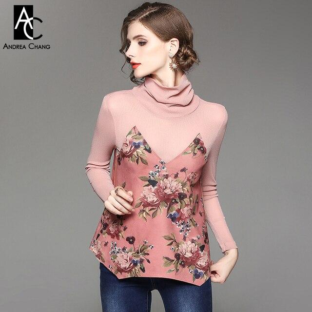 58e48359adf Primavera otoño mujer blusa camisa de gasa transparente tela de gamuza  patchwork blusa gris azul Rosa