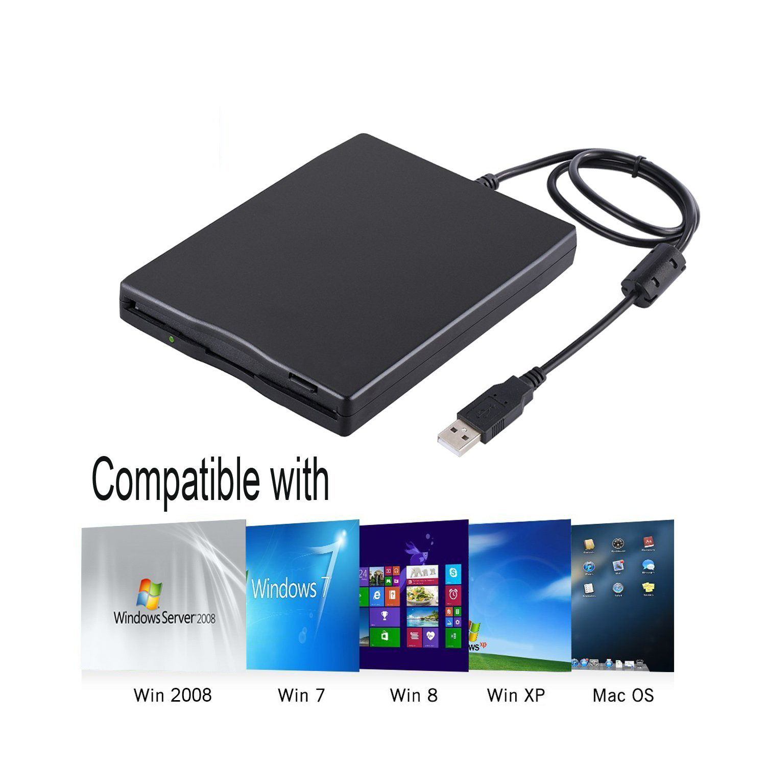 USB Floppy Drive, 3.5 Inch USB External Floppy Diskette Drive 1.44 MB FDD Portable USB Drive Plug And Play For Laptops Desktop