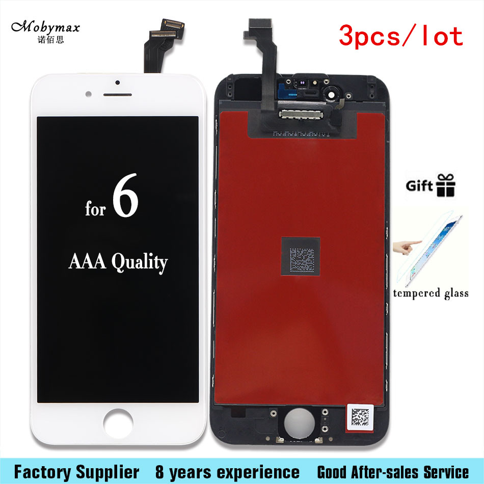 3pcs/Lot LCD Display Touch Screen For Iphone 6 <font><b>6G</b></font> 6plus <font><b>Mobile</b></font> <font><b>Phone</b></font> Lcd Digitizer Assembly Replacement Parts With tempered film
