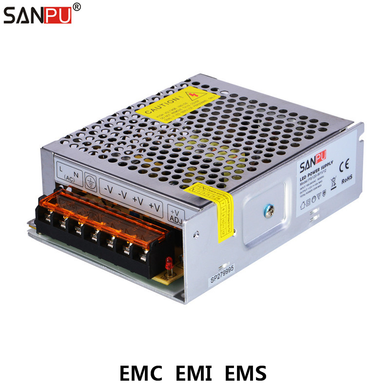 SANPU EMC EMI EMS 120W 12V Switching Power Supply Unit 10A Source 12VDC LED Driver Transformer 220V 110V AC to DC 12 V Converter switching power supply 12v 6a 80w source power 12 v 220v to 12v ac dc power supply dc12v 80w source fuente de alimentacion