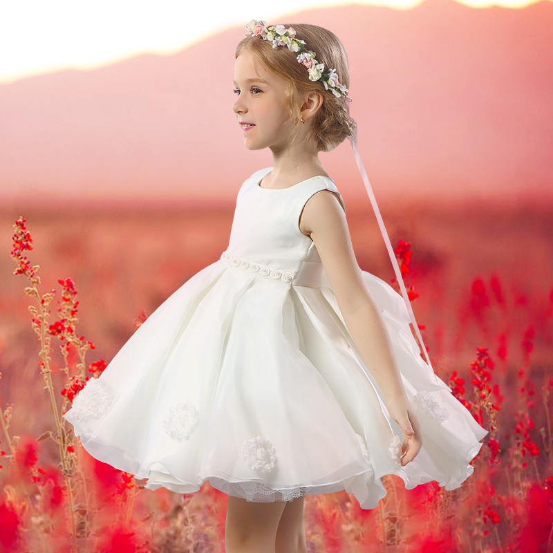 купить tutu princess dress big bow knee-length ball gown girls pageant dress for wedding&perform sleeveless elegant flower girl dresses дешево