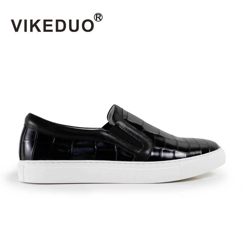 Vikeduo 2019 Hot Sales Handmade Flat male Leisure Shoes Genuine Leather Fashion Comfortable Black Skateboard Mens