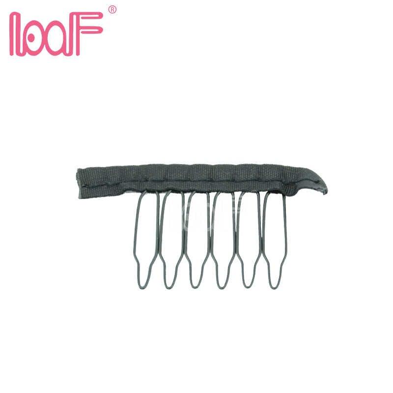 לוף 6 שיניים פאת קליפים 5pcs אבזרים סיטונאי שחור שיער מסרקי פאת לצרף כובע פאת מסרק הכנס תחרה פאה קליפים