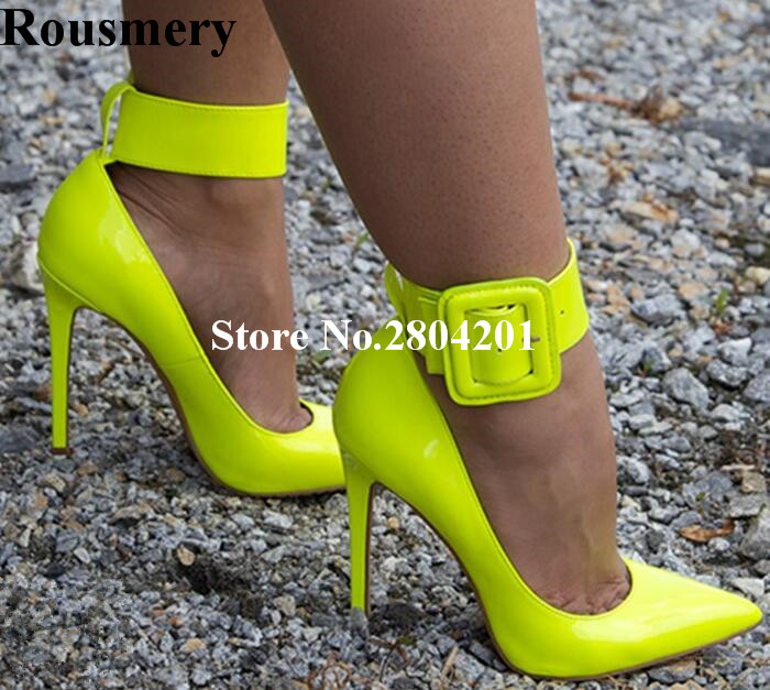 Stiletto Fuchsia Jaune Étape Grande Talon As Party Pompes Bande Pic Boucle Cm as Sangle Mode Pointu Chaussures Pic Bout 12 Sexy Femmes Rousmery F4qOwI6