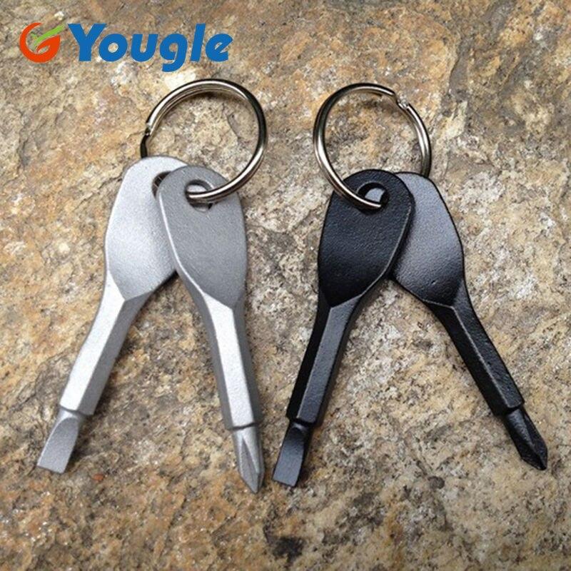 YOUGLE 2Pcs Stainless Steel Multi Tools Key Ring EDC Screwdriver Set Pocket Outdoor Tool Set Multitool Keychain Sliver Black мультитул swiss tech key ring multitool st60300