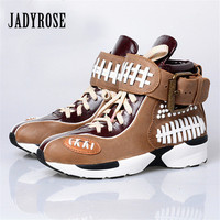 Jady Rose 2019 Fashion Ladies Shoes Women Flats Lace Up Casual Shoes Espadrilles Platform Creepers Female Patchwork Loafers