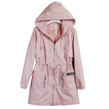 New Arrivals Spring Clothes Women's Autumn Outerwear Girls Slim Casual Long Sleeve Hooded Trench Coat Windbreaker Hot New XH283 недорого