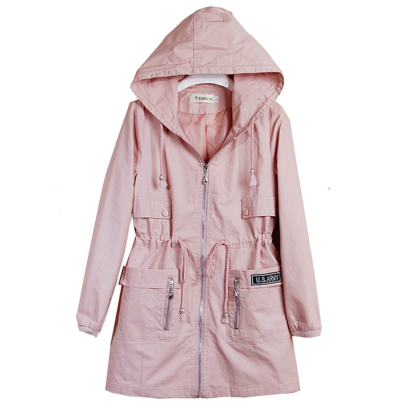 2019 New Arrivals Spring Clothes Women's Autumn Outerwear Girls Slim Casual Long Sleeve Hooded   Trench   Coat Windbreaker Hot XH283