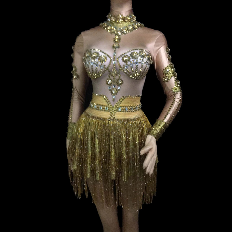 Women's DJ Singer Dance Long Sleeves Gogo Dance Costumes Sexy Stage fringe Sparkly Gold Rhinestones Tassel Dress Stage Costume