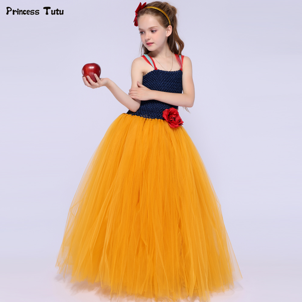Snow White Girl Princess Dress Tulle Kids Halloween Cosplay Costume Children Carnival Birthday Party Tutu Dresses For Girls 1-14 children trolls poppy cosplay tutu dress baby girl birthday party dresses princess christmas halloween costume for kids clothes