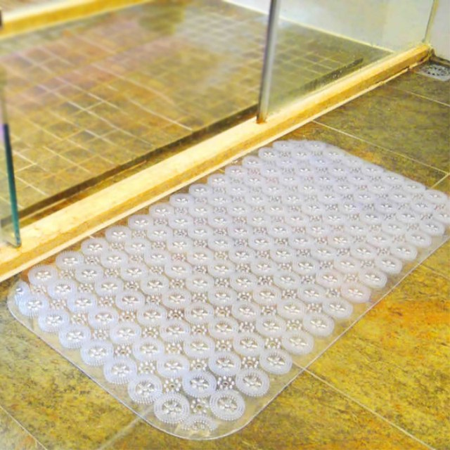 1Pcs Oversized Bathroom Mat Plastic Floor Shower Bat Room With Suction Cup Door