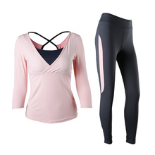 Women's Yoga Set Full Sleeves Long Pants Solid 3 Colors Female Sportswear Anti-pilling With Pad Yoga Suit Girls' Yoga Clothes