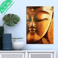 1 Piece Art Buddha Golden Face HD Printed Canvas Wall Art Posters and Prints Poster Painting Framed Artwork Room Decoration