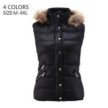 COUTUDI Fur Collar Vest Coat Luxury Warm Women Slim Sleeveless Winter Jacket Solid Black Plus Size Fashion Furs Hooded Down