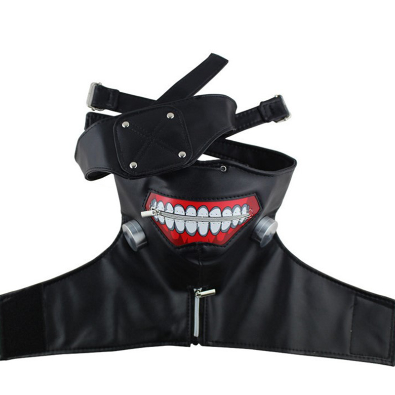 2019 Masks Tokyo Ghoul Kaneki Ken Adjustable Zipper Faux Leather Mask Halloween Black And White