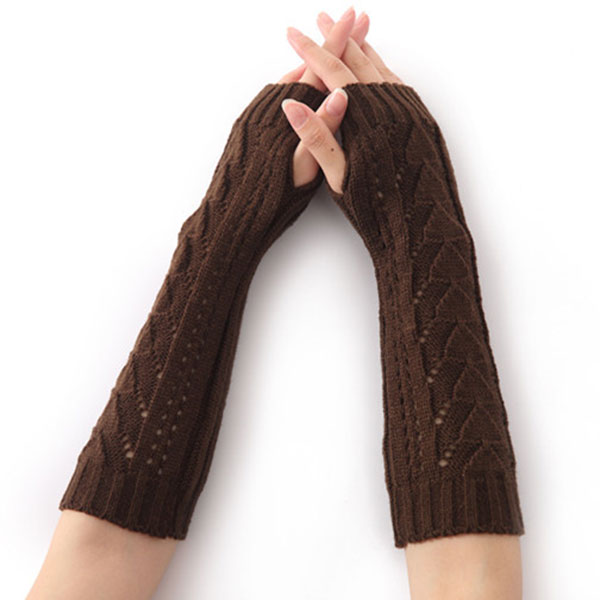 1Pair Women Winter Long Gloves Knitted Fingerless Gloves Half Hollow Arm Sleeves Guantes Mujer TS95
