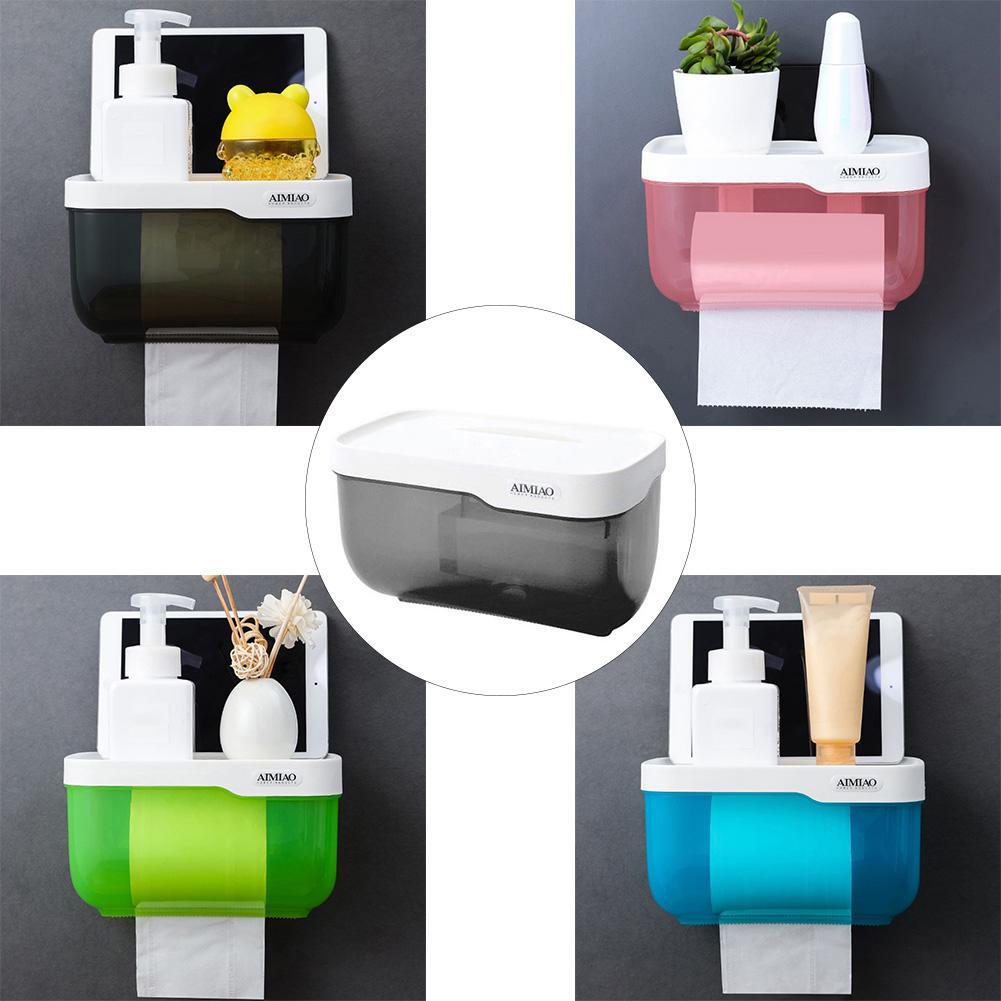 Multifunction Toilet Paper Holder Bathroom Plastic Tissues Shelf Storage Rack