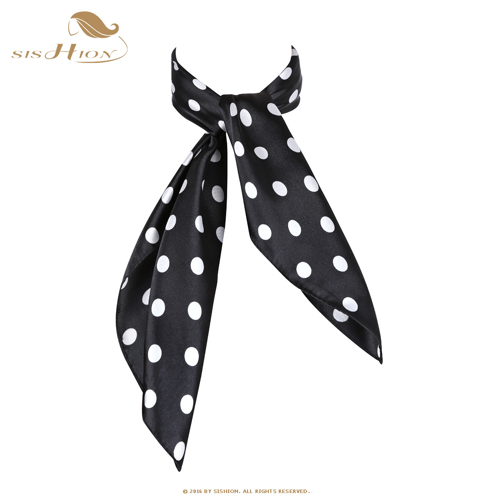 SISHION Women Scarf 60cm*60cm Polka Dot Ladies Square Scarf Imitated Silk Scarves Stewardess Hostess Ladies Office Neckerchief