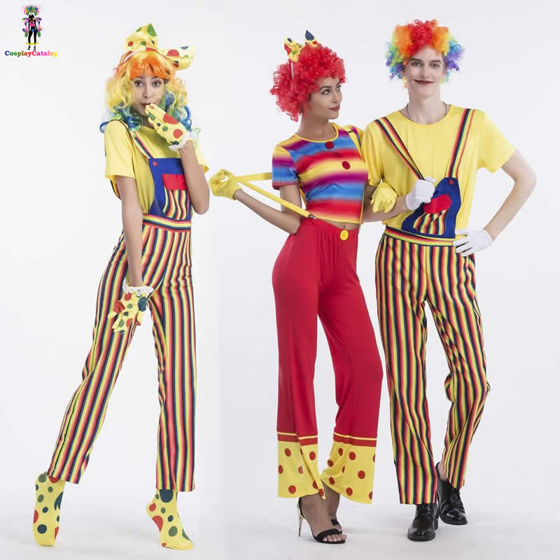 Cute Candy Striped Couple Circus Clown Cosplay Costumes <font><b>Halloween</b></font> <font><b>Sexy</b></font> Adult Women Clown Costume <font><b>Man</b></font> Mischievous Jester Suits image