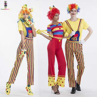 Cute Candy Striped Couple Circus Clown Cosplay Costumes Halloween Sexy Adult Women Clown Costume Man Mischievous Jester Suits