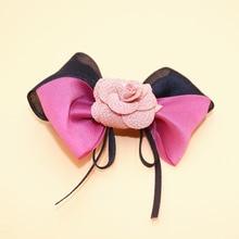 2Pes lot Fashion Boutique Grosgrain Flax Ribbon Hairbows Girls Hair Bows With Clip Kids Hair ClipsHair