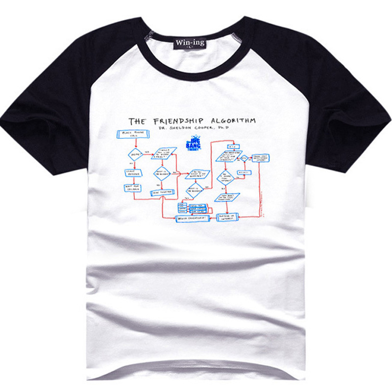 Sheldon Cooper Friendship Algorithm T Shirt Fan T-Shirts Geek Tee Men Boy Tshirt